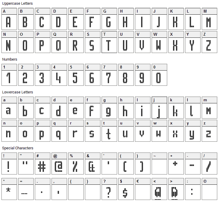 GVB Metro Pid Font Character Map