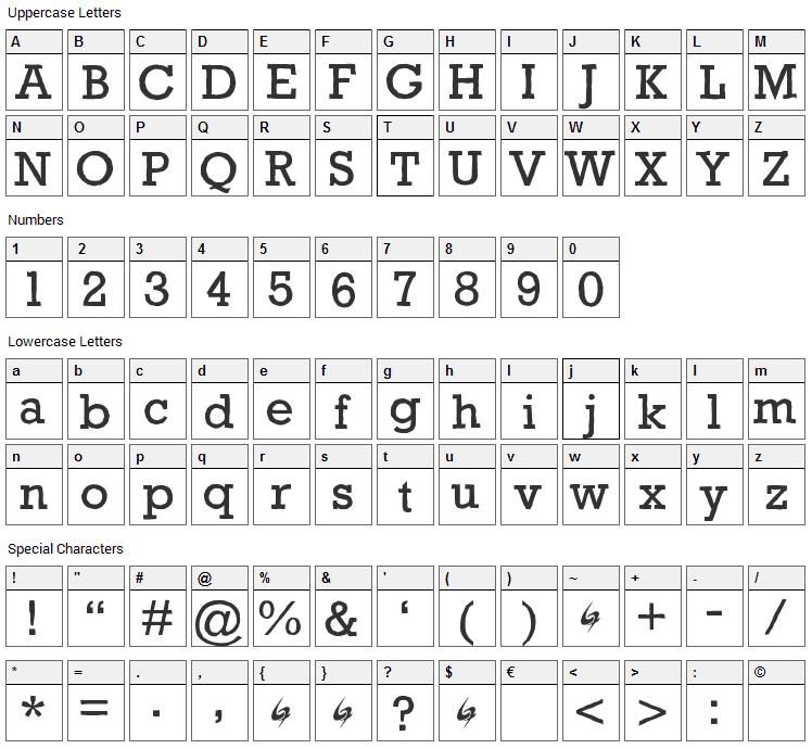Gycentium Popwell Font Character Map
