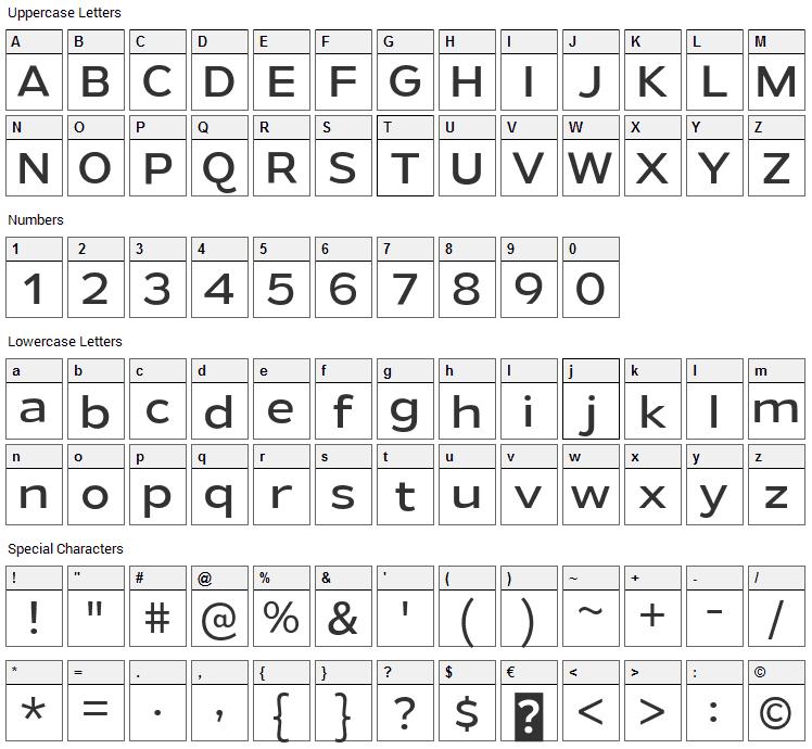 Gymkhana Font Character Map
