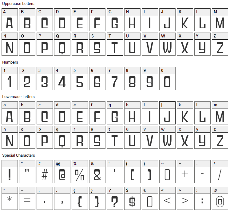 Gyparody Font Character Map
