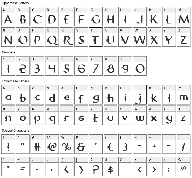 Gypsy Road Font Character Map