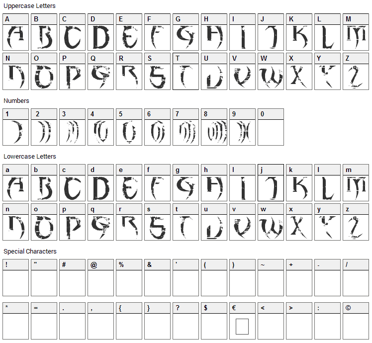 haAJJA Font Character Map