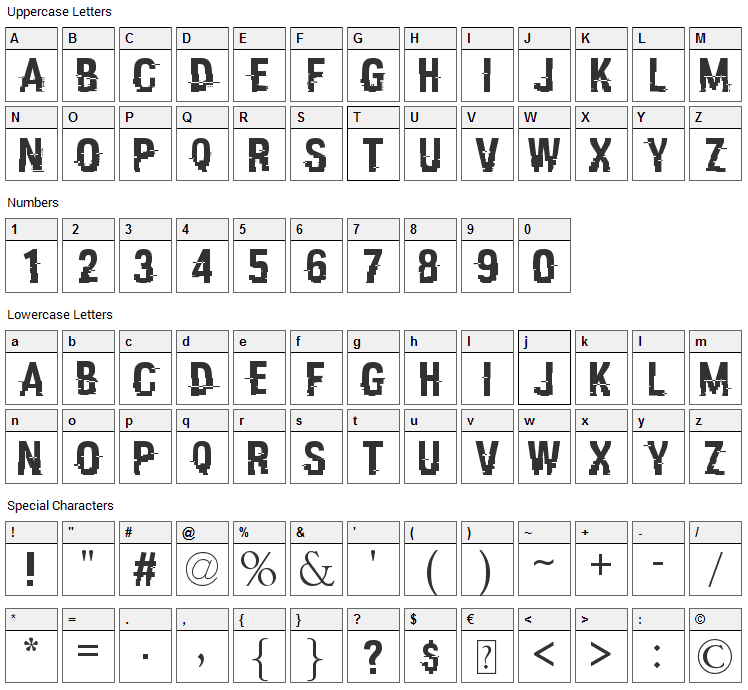 Hacked Font Character Map