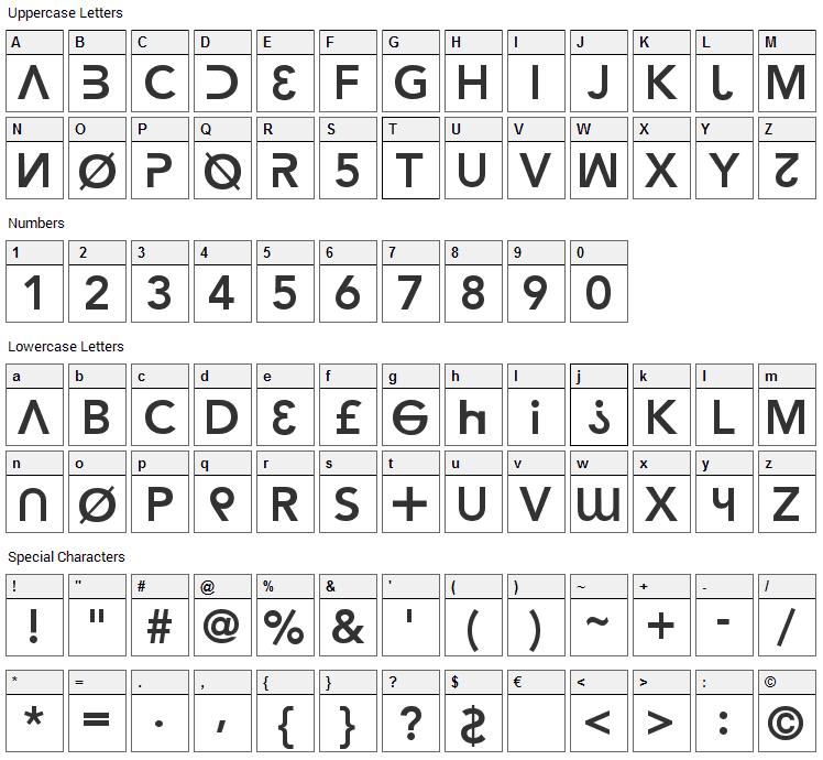 Hacker Argot Font Character Map