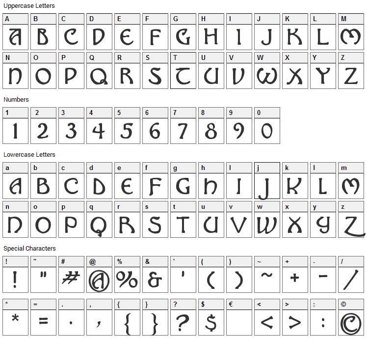 Hadley Font Character Map