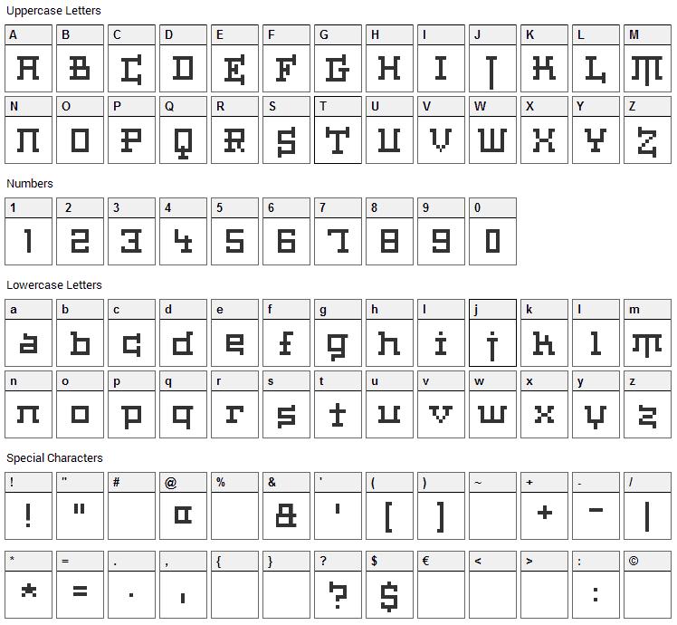 Haiku Font Character Map