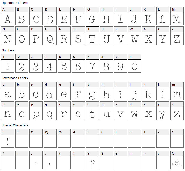 Halbstarke Pica Font Character Map
