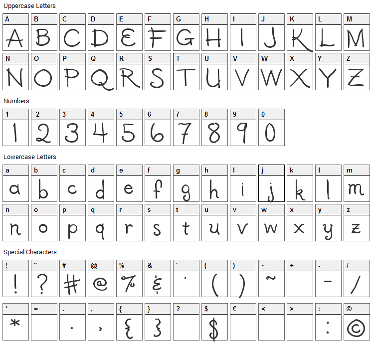 Halcyon Font Character Map