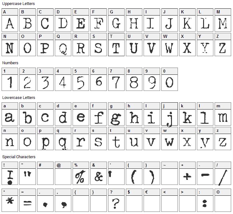 Halda Font Character Map