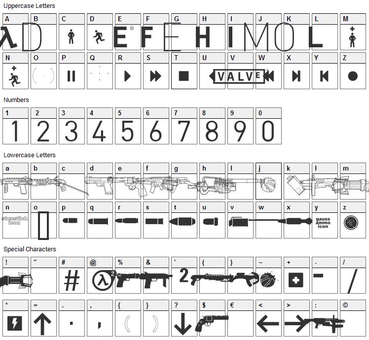 Half Life 2 Font Character Map