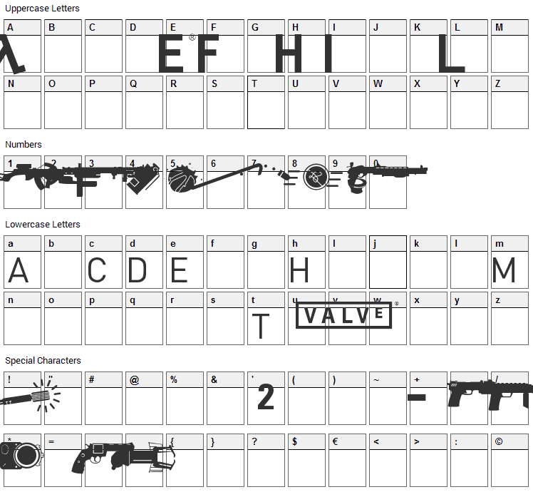 Half Life Font Character Map