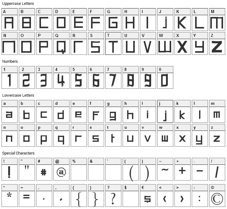 Halits Font Character Map