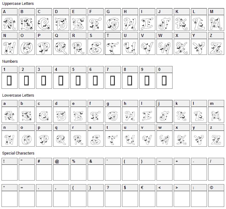 Halloween Bats Font Character Map