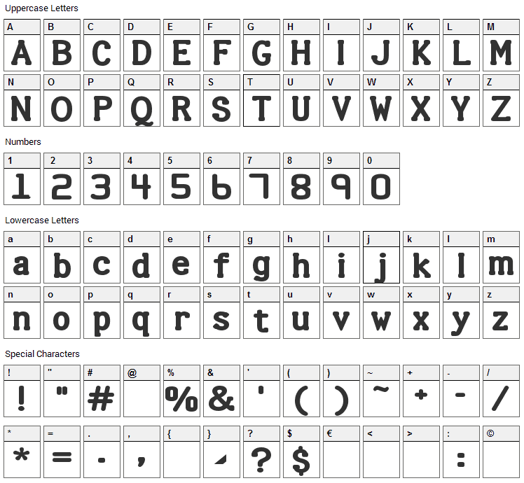Halter Font Character Map