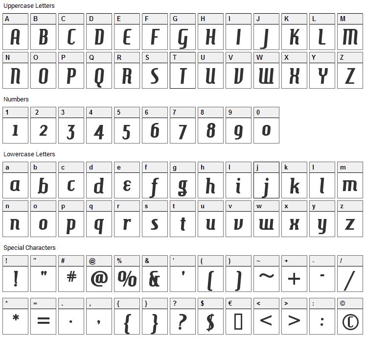 Hamburger Heaven Font Character Map