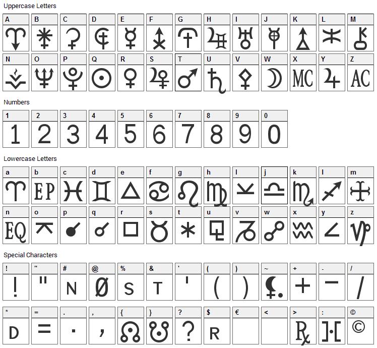 HamburgSymbols Font Character Map