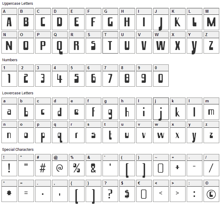 Hamma Mamma Jamma Font Character Map