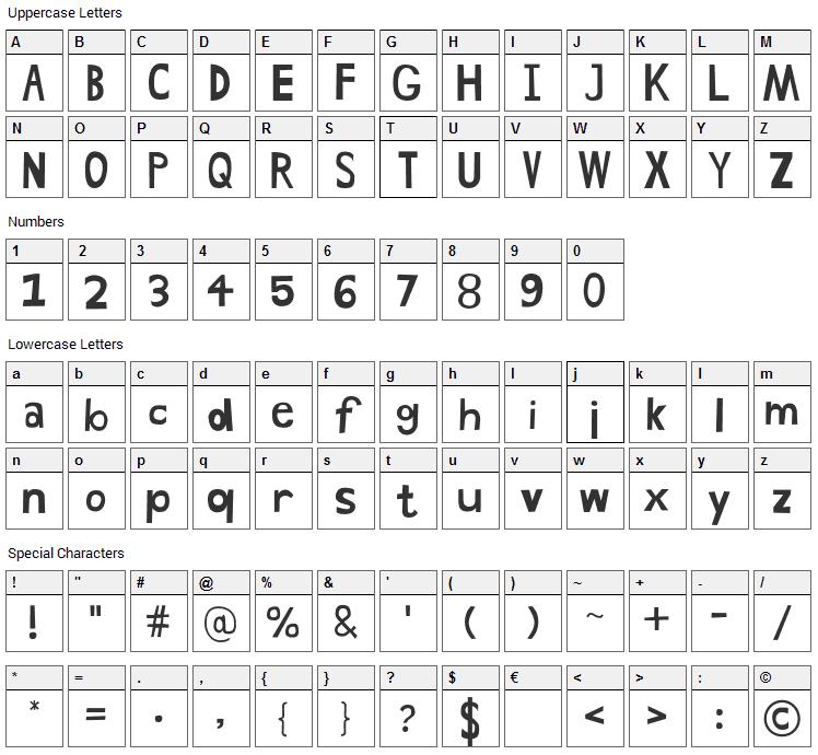 Hand Drawn Shapes Font Character Map