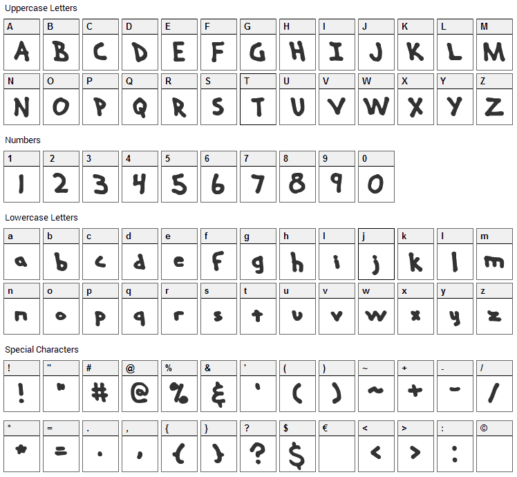Hand Me Down Font Character Map