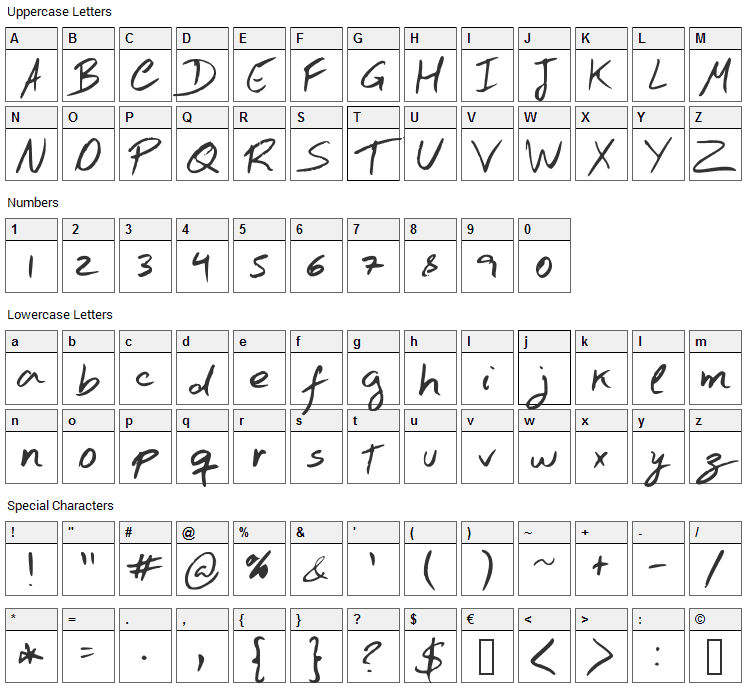 Hand Test Font Character Map