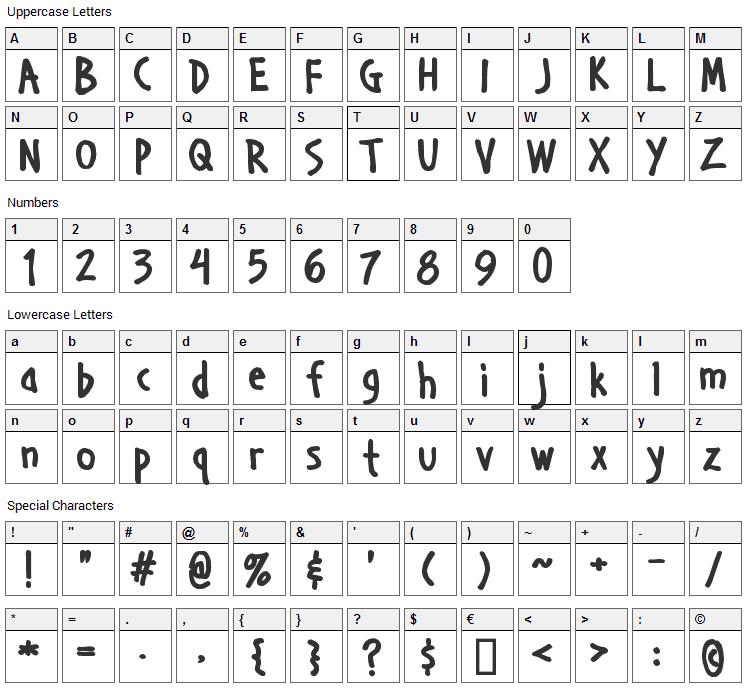 Handage Font Character Map