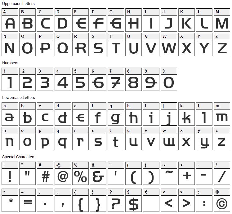 Handelbar Font Character Map