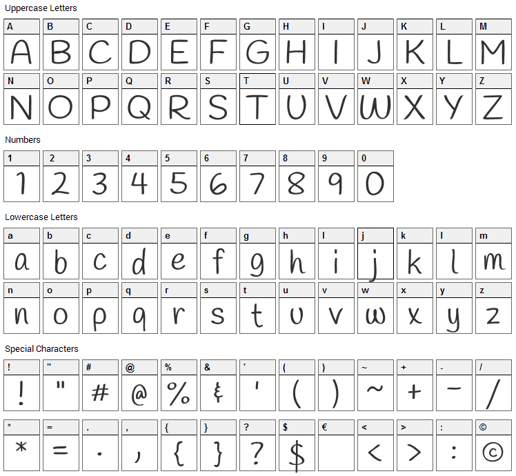 Handlee Font Character Map