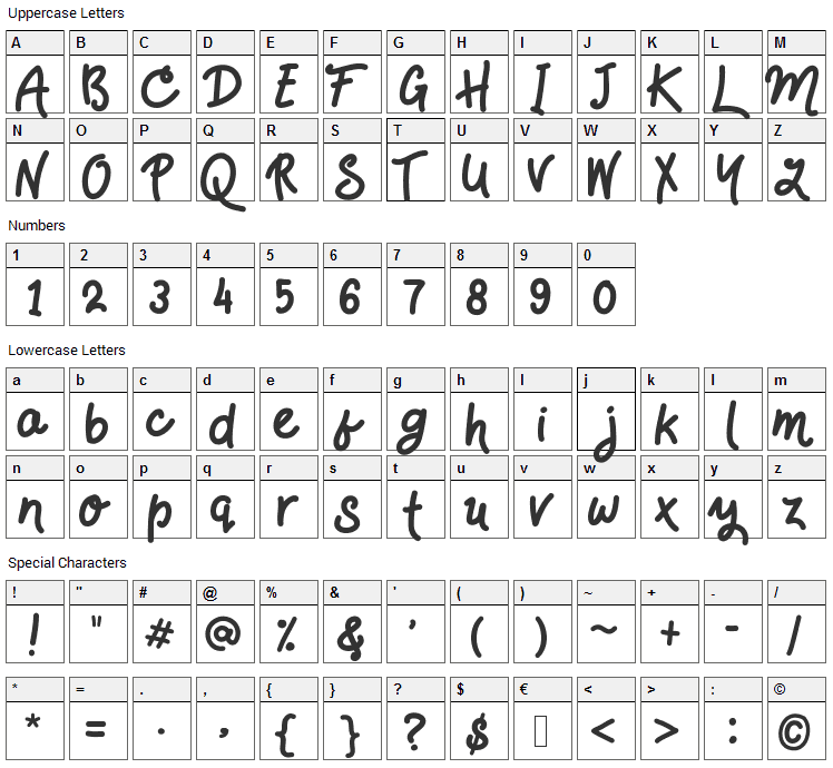 HandsDown Font Character Map