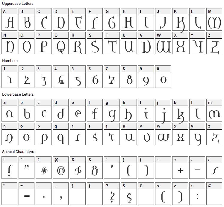 Hane Font Character Map