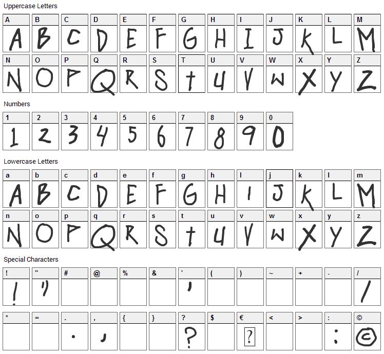 Hangover Monday Font Character Map