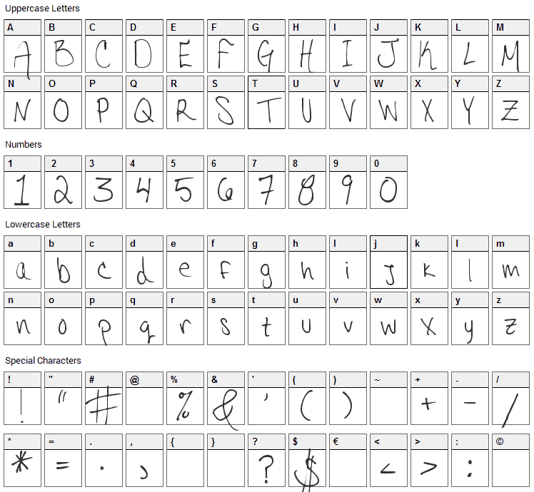 Hannahs Messy Handwriting Font Character Map
