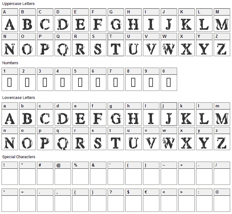 Happy Daze Font Character Map