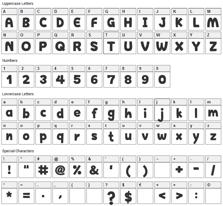 Happy Hell Font Character Map