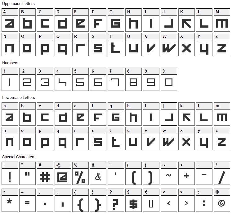 Happy Killer Font Character Map