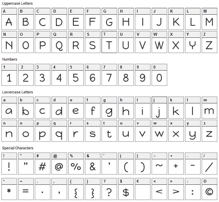 Happy Monkey Font Character Map