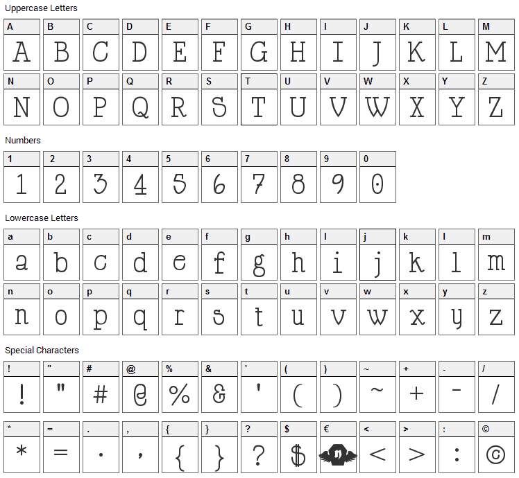 Happy Phantom Font Character Map