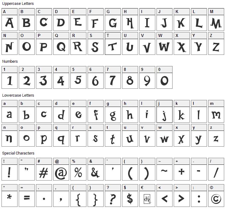Happy Serif Font Character Map