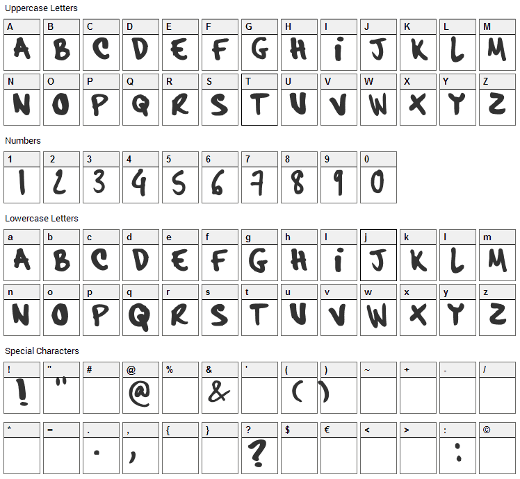 Hardcore Pen Font Character Map