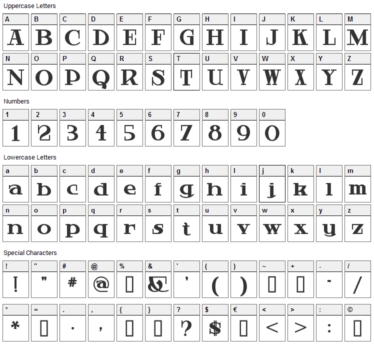 Hardly Worthit Font Character Map