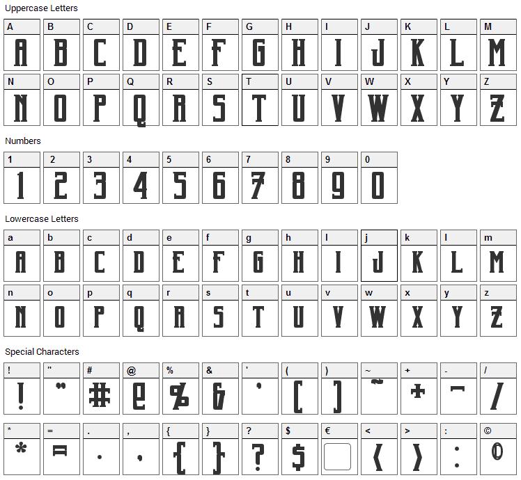 Harker Font Character Map