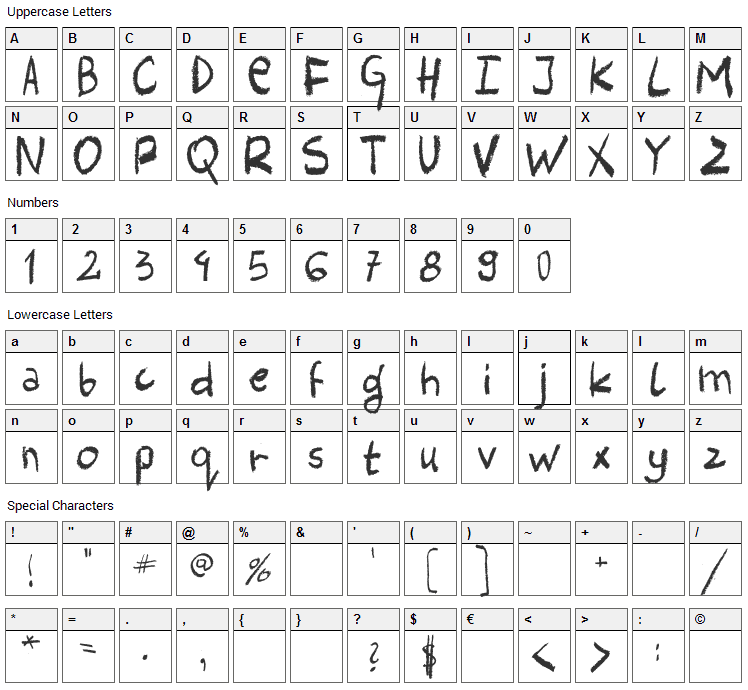 Harlem Clown Font Character Map