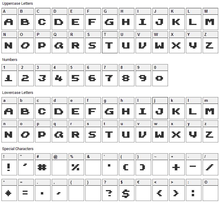 Harmonica Font Character Map