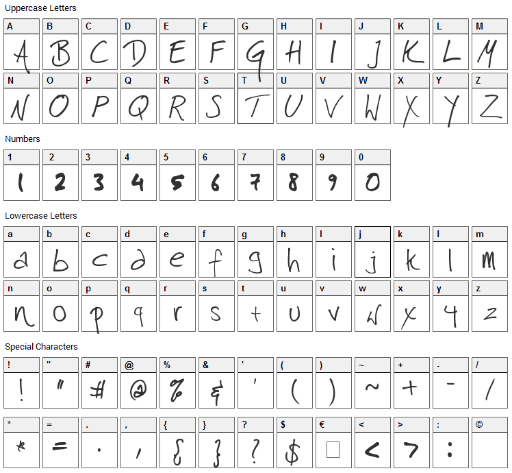 Harrison Font Character Map