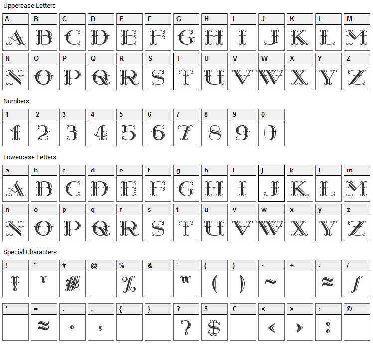 Harry Piel Font Character Map