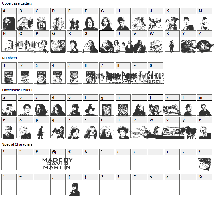 Harry Potter and the Dingbats Font Character Map