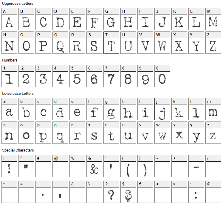 Harting Font Character Map