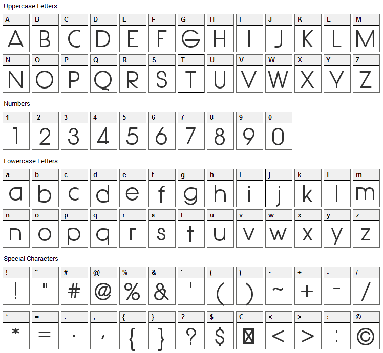 Hasteristico Font Character Map