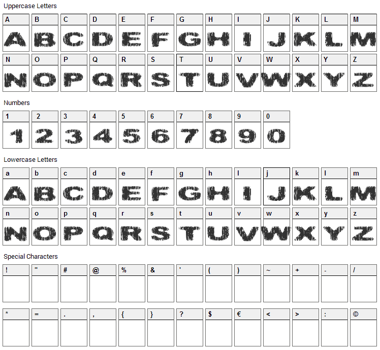 Hatchet Man Font Character Map