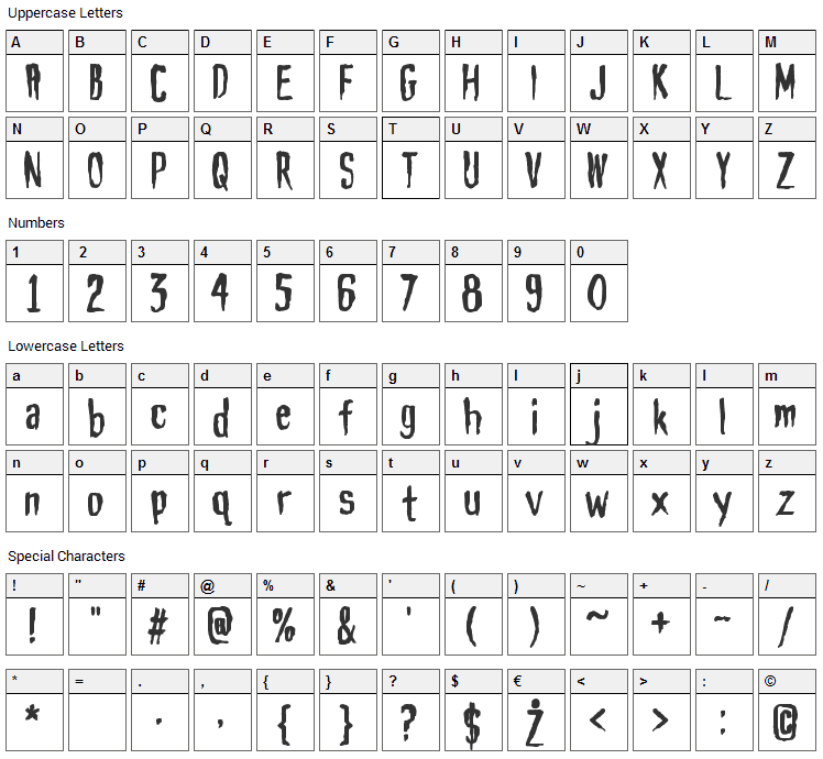 Haunt AOE Font Character Map