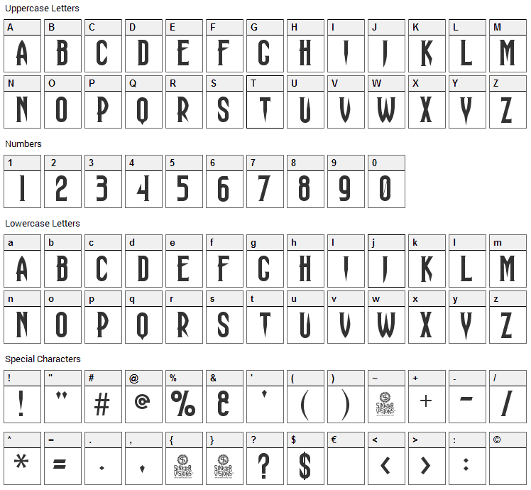 Haunting Attraction Font Character Map